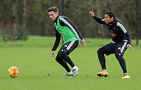 SWANSEA, WALES - JANUARY 28: (L-R) Liam Shephard against Jefferson Montero during the Swansea City Training Session on January 28, 2016 in Swansea, Wales.