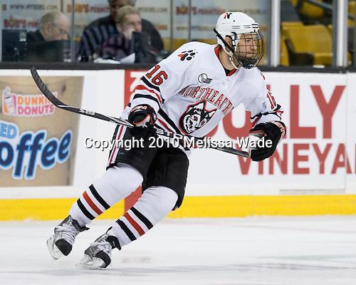 Kyle Kraemer (NU - 16) - The Northeastern University Huskies defeated the Harvard University Crimson 4-1 (EN) on Monday, February 8, 2010, at the TD Garden in Boston, Massachusetts, in the 2010 Beanpot consolation game.