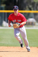Boston Red Sox minor league player Jason Thompson #18 during a spring training game vs the Baltimore Orioles at the Buck O'Neil Complex in Sarasota, Florida;  March 22, 2011.  Photo By Mike Janes/Four Seam Images