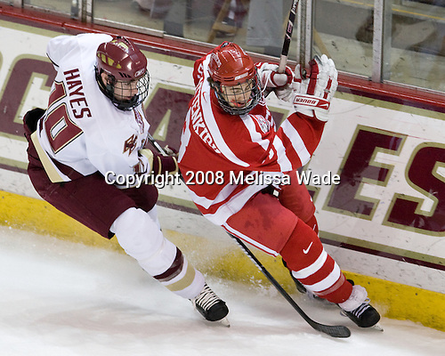 Jimmy Hayes (Boston College - 10), Kevin Shattenkirk (Boston University - 3) - The Boston University Terriers defeated the Boston College Eagles 3-1 at Kelley Rink in Conte Forum in Chestnut Hill, Massachusetts.