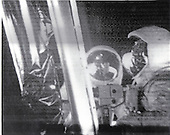 """The Moon - (FILE) -- Astronauts Neil A. Armstrong, left, and Edwin E. """"Buzz"""" Aldrin, Jr., prior to the unveiling of the plaque fastened to the descent stage of the lunar module on Sunday, July 20, 1969.  The plaque symbolizing the nature of the peaceful mission is now a permanent artifact on the lunar surface..Credit: NASA via CNP"""