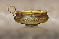 Mycenaean gold cup with ivy leaf decoration from the Mycenaean cemetery of Midea tomb 10, Dendra, Greece. National Archaeological Museum Athens Cat no 8743.
