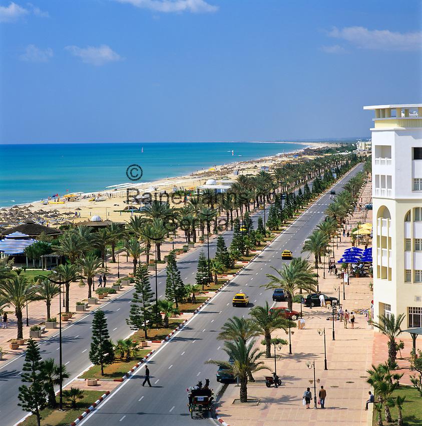 Tunisia, Cap Bon, Yasmine Hammamet: View along beach front from rooftop of Lella Baya Hotel | Tunesien, Cap Bon, Yasmine Hammamet: Blick vom Hotel Lella Baya auf die Kuestenstrasse und den langen Sandstrand