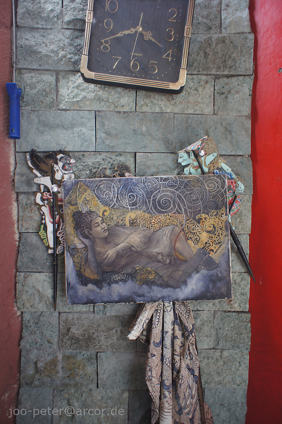wall in atelier of artist Kan Kulak with painting of sleeping buddha, Bali, archipelago Indonesia, 2010