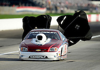 Aug. 31, 2012; Claremont, IN, USA: NHRA pro stock driver Kevin Lawrence during qualifying for the US Nationals at Lucas Oil Raceway. Mandatory Credit: Mark J. Rebilas-