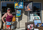 Artist Mimi G at the Midtown Art Walk on Thursday afternoon in Reno, June 28, 2018.
