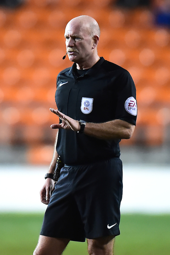 Referee Nigel Miller gestures<br /> <br /> Photographer Richard Martin-Roberts/CameraSport<br /> <br /> The EFL Sky Bet League Two - Blackpool v Crawley Town - Tuesday 7th February 2017 - Bloomfield Road - Blackpool<br /> <br /> World Copyright &copy; 2017 CameraSport. All rights reserved. 43 Linden Ave. Countesthorpe. Leicester. England. LE8 5PG - Tel: +44 (0) 116 277 4147 - admin@camerasport.com - www.camerasport.com