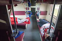 CHELYABINSK, RUSSIA - June 21, 2018: Peru fans ride a train at Chelyabinsk, Russia for the five hour ride to Yekaterinburg for their 2018 FIFA World Cup group stage match against France at Yekaterinburg Arena Stadium.