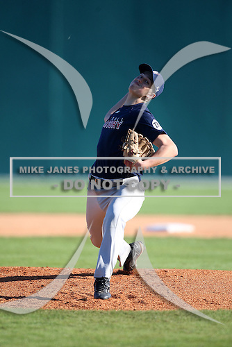 December 28, 2009:  Max Nowicki (10) of the Baseball Factory Owls team during the Pirate City Baseball Camp & Tournament at Pirate City in Bradenton, Florida.  (Copyright Mike Janes Photography)