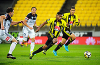 Roy Krishna in action during the A-League football match between Wellington Phoenix and Melbourne Victory at Westpac Stadium in Wellington, New Zealand on Friday, 10 January 2018. Photo: Dave Lintott / lintottphoto.co.nz
