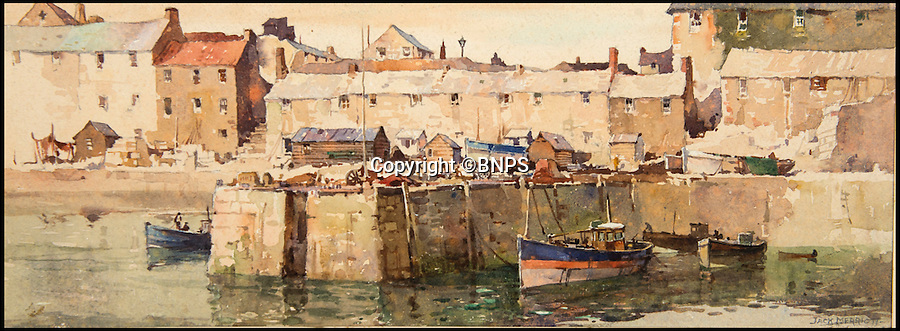 BNPS.co.uk (01202 558833)<br /> Pic: TomWren/BNPS<br /> <br /> Seahouses, Northumberland by Jack Merriott.<br /> <br /> A collection of vintage posters used to promote Britain's railways during the golden age of steam have gone on sale for a whopping &pound;20,000 after being saved from the skip.<br /> <br /> Quick-thinking railway worker Albert Cook heard the 130 carriage panel prints from the 1930s including 12 original artworks were to be thrown away at London's Liverpool Street Station, so he asked permission to take them home.<br /> <br /> The art deco-style posters advertised popular destinations such as Northumberland's Whitley Bay, Woodhall Spa in Lincs and Dovercourt Bay in Essex as railway tourism opened up Britain to the masses.<br /> <br /> The archive will be sold by Onslows auctioneers in Blandford, Dorset, on July 14.