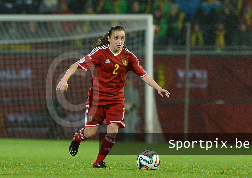 20151130 - LEUVEN ,  BELGIUM : Belgian Davina Philtjens pictured during the female soccer game between the Belgian Red Flames and Serbia , the third game in the qualification for the European Championship in The Netherlands 2017  , Monday 30 November 2015 at Stadion Den Dreef  in Leuven , Belgium. PHOTO DAVID CATRY