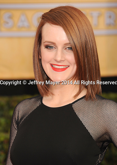 LOS ANGELES, CA- JANUARY 18: Actress Sophie McShera arrives at the 20th Annual Screen Actors Guild Awards at The Shrine Auditorium on January 18, 2014 in Los Angeles, California.