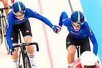 Picture by Alex Whitehead/SWpix.com - 10/12/2017 - Cycling - UCI Track Cycling World Cup Santiago - Velódromo de Peñalolén, Santiago, Chile - Italy's Elisa Balsamo and Marta Cavalli win Bronze in the Women's Madison final.
