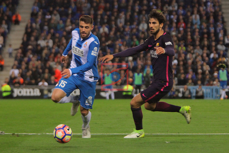 League Santander 2016/2017. Game: 35.<br /> RCD Espanyol vs FC Barcelona: 0-3.<br /> David Lopez vs Andre Gomes.