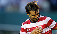PORTLAND, Ore. - July 9, 2013: Chris Wondolowski reacts after scoring a goal in the first half. The US Men's National team plays the National team of Belize during the 2013 Gold Cup at at JELD-WEN Field.