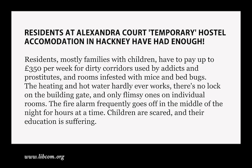 An online article calling for readers to demonstrate against Hackney Council's treatment of Alexandra Court residents.