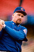 Mark Grace of the Chicago Cubs participates in a Major League Baseball game at Dodger Stadium during the 1998 season in Los Angeles, California. (Larry Goren/Four Seam Images)