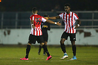 Andre Spencer of Clapton scores the first goal for his team and celebrates during Redbridge vs Clapton, Essex Senior League Football at Oakside Stadium on 14th November 2017
