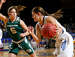 SIOUX FALLS, SD - NOVEMBER 29: Macy Miller #12 from South Dakota State looks to drive past Laken James #5 from Wisconsin Green Bay during their game Thursday night at Frost Arena in Brookings. (Photo by Dave Eggen/Inertia)