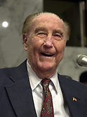 United States Senator J. Strom Thurmond, Sr. (Republican of South Carolina), who serves as the President pro tempore of the US Senate, listens as Robert S. Mueller, III testifies before the US Senate Committee on the Judiciary to be confirmed as the Director of the Federal Bureau of Investigation (FBI) on Capitol Hill in Washington, DC on July 30, 2001. If confirmed, Mueller will succeed Louis J. Freeh.<br /> Credit: Ron Sachs / CNP