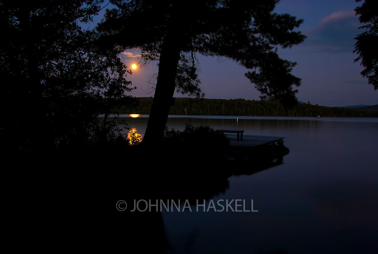 Moonlight over Rangeley Lake on a calm summer evening.