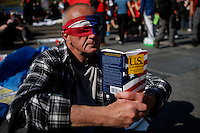 New York, USA. 1st May 2014.  A man attends the annual 1 May day rally in New York.  Eduardo MunozAlvarez/VIEWpress