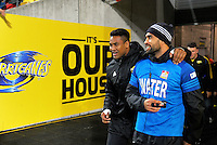 Julian Savea and Liam Messam walk out for the second half during the Super Rugby semifinal match between the Hurricanes and Chiefs at Westpac Stadium, Wellington, New Zealand on Saturday, 30 July 2016. Photo: Dave Lintott / lintottphoto.co.nz