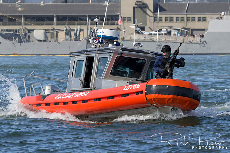 Coast Guard MSST Team in a Defender Class Response Boat patrols the San Francisco waterfront to ensure the safety and security of visiting U.S. Navy assets docked in San Francisco.