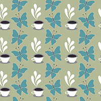 """Coffee In The Garden"" is a hand illustrated scalable vector surface pattern collection - inspired by the rare pleasure of being truly present, mindful, of unwinding, and enjoying coffee surrounded by nature in the garden!<br />