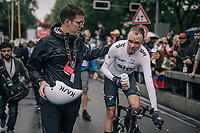Chris Froome (GBR/SKY) after finishing 6th, 12sec behind his teammate/winner Geraint Thomas and well ahead of his GC competitors<br /> <br /> 104th Tour de France 2017<br /> Stage 1 (ITT) - D&uuml;sseldorf &rsaquo; D&uuml;sseldorf (14km)