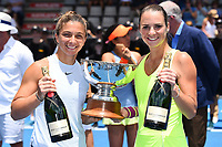 L-R Sara Errani (ITA) and Bibiane Schoofs (NL) after winning the double match during the ASB Classic WTA Women's Tournament Day 7 Doubles Final. ASB Tennis Centre, Auckland, New Zealand. Sunday 7 January 2018. ©Copyright Photo: Chris Symes / www.photosport.nz