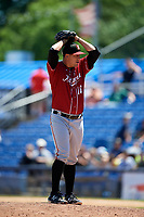 Altoona Curve relief pitcher Tate Scioneaux (18) delivers a pitch during a game against the Binghamton Rumble Ponies on June 14, 2018 at NYSEG Stadium in Binghamton, New York.  Altoona defeated Binghamton 9-2.  (Mike Janes/Four Seam Images)