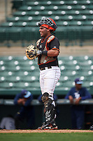 GCL Orioles catcher Ronald Soto (30) during the first game of a doubleheader against the GCL Rays on August 1, 2015 at the Ed Smith Stadium in Sarasota, Florida.  GCL Orioles defeated the GCL Rays 2-0.  (Mike Janes/Four Seam Images)