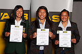 Rugby Union Girls finalists Tyla Nathan-Wong, Contessah Wright and Maggie Wanoa. ASB College Sport Young Sportsperson of the Year Awards held at Eden Park, Auckland, on November 11th 2010.