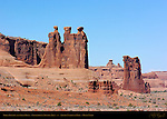 Three Gossips and Sheep Rock, Courthouse Towers Area, Arches National Park, Moab, Utah