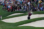 Tiger Woods (USA) playing his tee shot out of the bunker on the 1st hole on day 1of the World Golf Championship Bridgestone Invitational, from Firestone Country Club, Akron, Ohio. 4/8/11.Picture Fran Caffrey www.golffile.ie