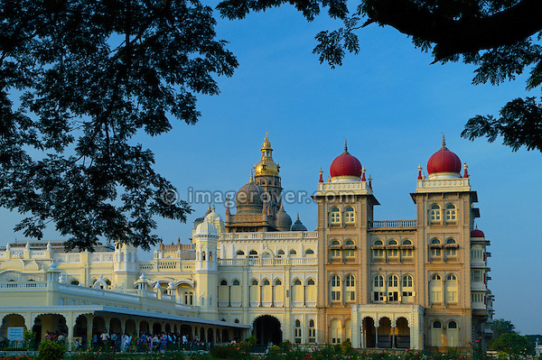 India, Karnataka, Mysore. Ambavilas Palace (Amba Vilas) in Mysore at dawn. No releases available.