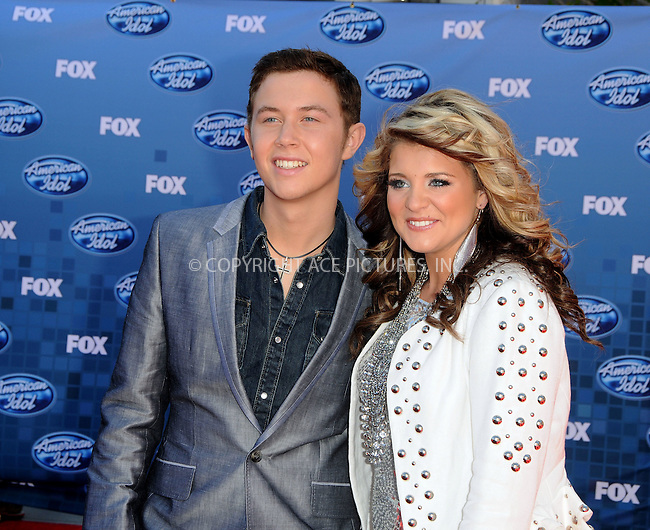 WWW.ACEPIXS.COM . . . . .  ....May 25 2011, Los Angeles....Finalists Scotty McCreery (L) and Lauren Alaina arrive at the 'American Idol' season 10 finale results show at the Nokia Theatre LA on May 25, 2011 in Los Angeles, California. ....Please byline: PETER WEST - ACE PICTURES.... *** ***..Ace Pictures, Inc:  ..Philip Vaughan (212) 243-8787 or (646) 679 0430..e-mail: info@acepixs.com..web: http://www.acepixs.com