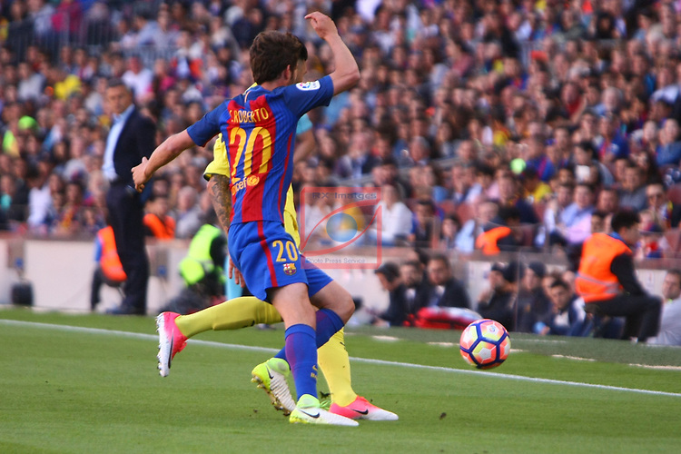 League Santander 2016/2017. Game: 36.<br /> FC Barcelona vs Villarreal CF: 4-1.<br /> Soriano vs Sergi Roberto.