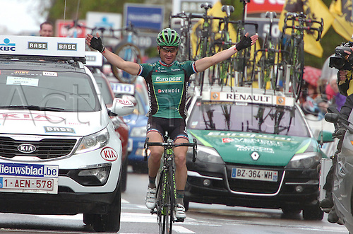 11.04.2012 Flemish Brabant, Belgium. Flanders Classics Brabantse Pijl. Thomas Voeckler (Europcar) wins the Brabantse Pijl after a solo breakaway in the Flemish Brabant region of Belgium.