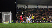 General view of play as Kemar Roofe of Oxford United attacks during the Johnstone's Paint Trophy Southern Final 2nd Leg match between Oxford United and Millwall at the Kassam Stadium, Oxford, England on 2 February 2016. Photo by Andy Rowland / PRiME Media Images.