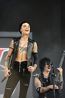 DERBY, ENGLAND - JUNE 10: Andy Biersack and jake Pitts of 'Black Veil Brides ' performing at Download Festival, Donington Park on June 10, 2018 in Derby.<br /> CAP/MAR<br /> &copy;MAR/Capital Pictures