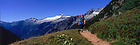 Hiker on Cascade Pass Trail, Cascade Mountains, Washington