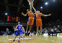 Players go up for the rebound in the dying seconds of the national basketball league final  between Wellington Saints and Southland Sharks at TSB Bank Arena in Wellington, New Zealand on Sunday, 5 August 2018. Photo: Dave Lintott / lintottphoto.co.nz