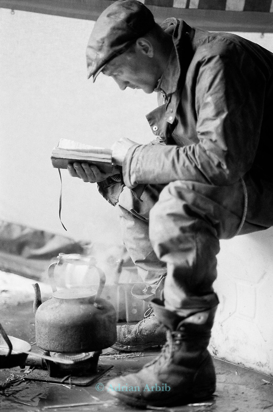 Nick Pepper reading. It was a source of constant surprse to those that came to the site that these begraggled people could read.<br /> A huge amount of the time was spent hanging around waiting for things to happen.