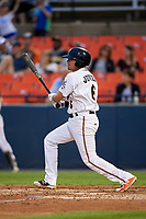 Frederick Keys shortstop Alejandro Juvier (6) follows through on a swing during the second game of a doubleheader against the Lynchburg Hillcats on June 12, 2018 at Nymeo Field at Harry Grove Stadium in Frederick, Maryland.  Frederick defeated Lynchburg 8-1.  (Mike Janes/Four Seam Images)
