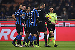 Inter players protest to the referee Gianluca Rocchi following his decision to award Atalanta a late penalty during the Serie A match at Giuseppe Meazza, Milan. Picture date: 11th January 2020. Picture credit should read: Jonathan Moscrop/Sportimage