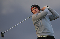 Sean Downes (Royal Dublin) on the 18th tee during Round 2 of the Ulster Boys Championship at Portrush Golf Club, Portrush, Co. Antrim on the Valley course on Wednesday 31st Oct 2018.<br /> Picture:  Thos Caffrey / www.golffile.ie<br /> <br /> All photo usage must carry mandatory copyright credit (&copy; Golffile | Thos Caffrey)