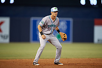 Daytona Tortugas third baseman Brantley Bell (24) during a game against the Tampa Tarpons on April 18, 2018 at George M. Steinbrenner Field in Tampa, Florida.  Tampa defeated Daytona 12-0.  (Mike Janes/Four Seam Images)